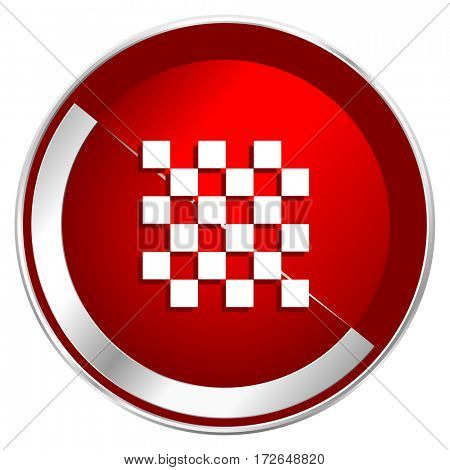 Chess red web icon. Metal shine silver chrome border round button isolated on white background. Circle modern design abstract sign for smartphone applications.