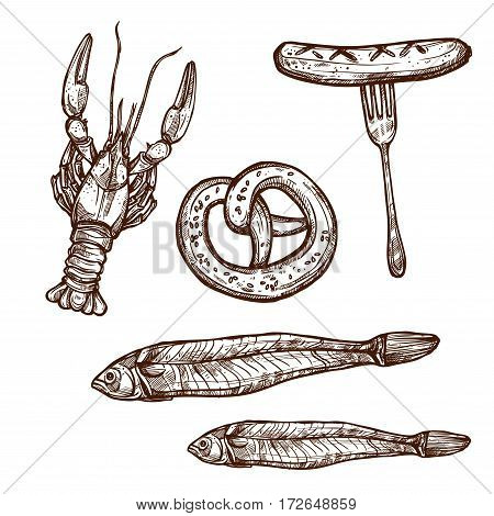 Beer snacks and appetizers vector icons set of sketched lobster or crab, pretzel bun, vector sketch icons, dried salted or smoked fish and sausage meaty wurst on fork for pub menu or brewery