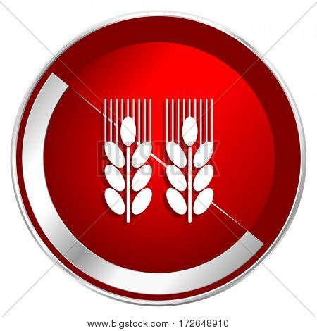 Agricultural red web icon. Metal shine silver chrome border round button isolated on white background. Circle modern design abstract sign for smartphone applications.