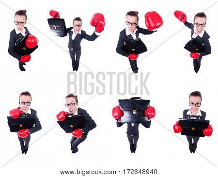 Collage of funny businesswoman on white
