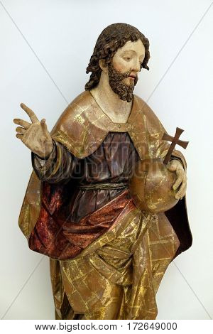 ZAGREB, CROATIA - FEBRUARY 17: Christ the King from the altar of the parish church of St. Vitus in Vrbovec, exhibited in the Museum of Arts and Crafts in Zagreb, on February 17, 2015.