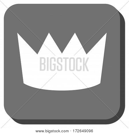 Crown rounded button. Vector pictograph style is a flat symbol in a rounded square button white and gray colors.