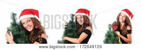Snowgirl with fir tree isolated on white