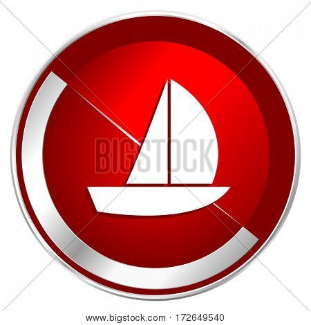 Yacht red web icon. Metal shine silver chrome border round button isolated on white background. Circle modern design abstract sign for smartphone applications.