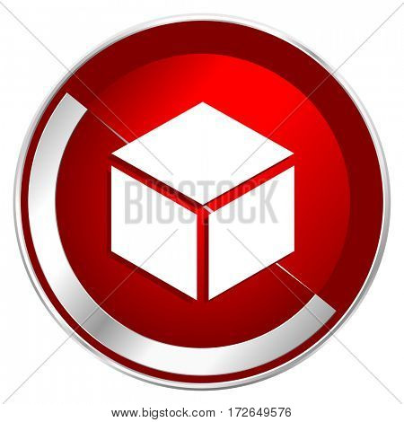 Box red web icon. Metal shine silver chrome border round button isolated on white background. Circle modern design abstract sign for smartphone applications.