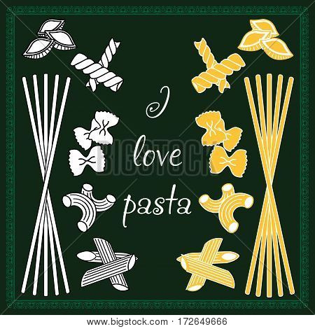 Set Products. Seamless Pattern. Ready-made Ingredients. Variety Of Pasta. Set Pasta. I Love Pasta,