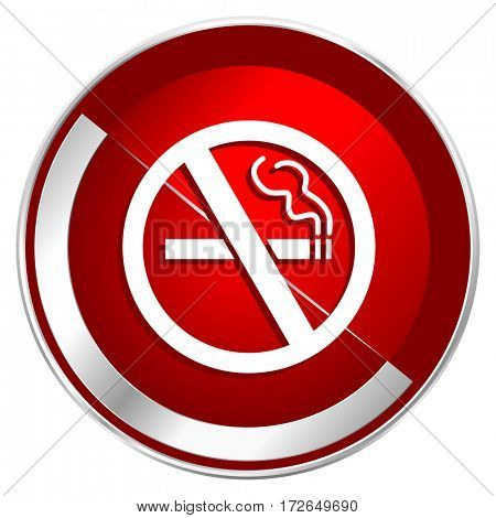 No smoking red web icon. Metal shine silver chrome border round button isolated on white background. Circle modern design abstract sign for smartphone applications.