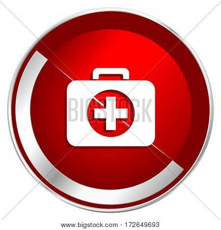 First aid red web icon. Metal shine silver chrome border round button isolated on white background. Circle modern design abstract sign for smartphone applications.