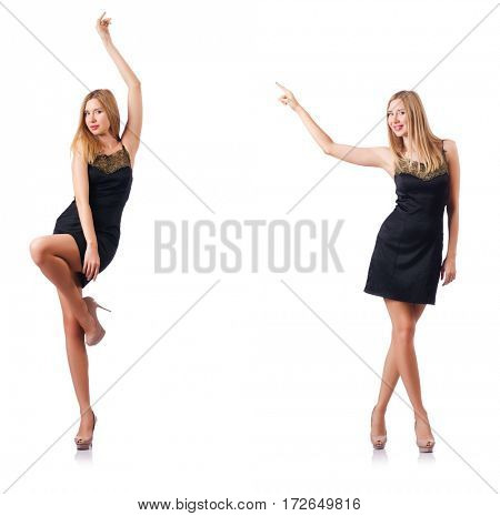 Tall model isolated on the white background