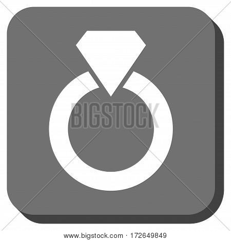 Diamond Ring rounded icon. Vector pictogram style is a flat symbol inside a rounded square button white and gray colors.
