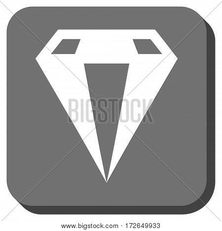 Diamond interface toolbar icon. Vector pictograph style is a flat symbol inside a rounded square button white and gray colors.