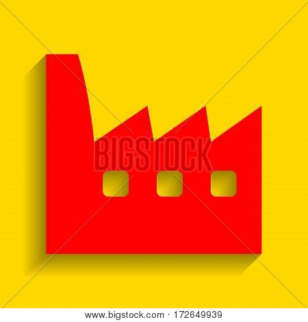 Factory sign illustration. Vector. Red icon with soft shadow on golden background.