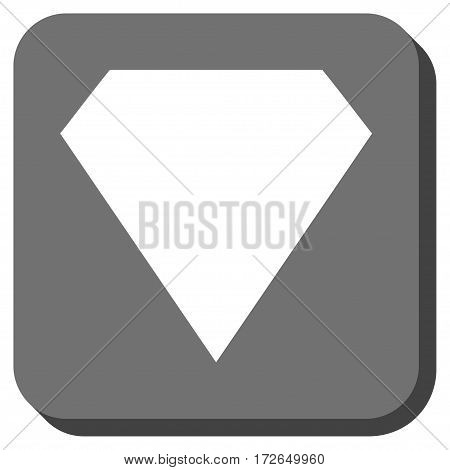 Diamond interface toolbar button. Vector pictogram style is a flat symbol inside a rounded square button white and gray colors.