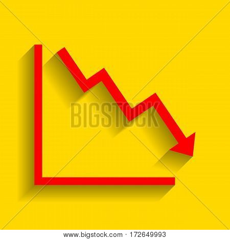 Arrow pointing downwards showing crisis. Vector. Red icon with soft shadow on golden background.
