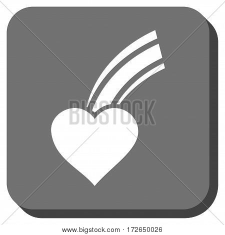 Falling Heart interface icon. Vector pictogram style is a flat symbol on a rounded square button white and gray colors.