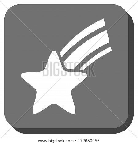 Falling Star interface toolbar icon. Vector pictogram style is a flat symbol in a rounded square button white and gray colors.