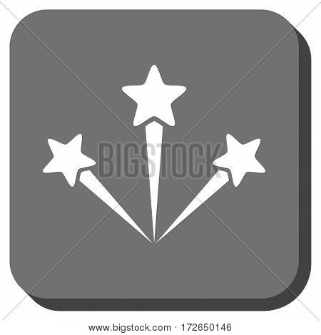 Festive Fireworks toolbar icon. Vector pictograph style is a flat symbol centered in a rounded square button white and gray colors.