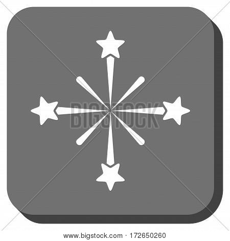 Fireworks rounded icon. Vector pictogram style is a flat symbol centered in a rounded square button white and gray colors.