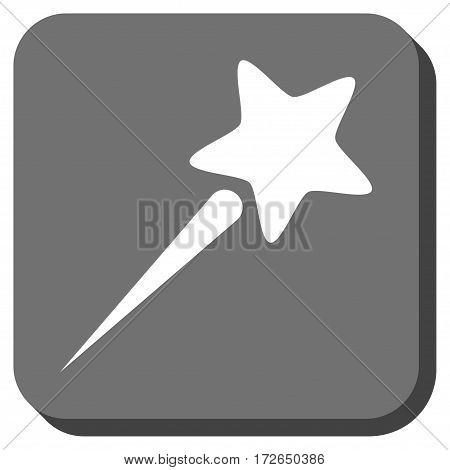 Flying Star square button. Vector pictogram style is a flat symbol inside a rounded square button white and gray colors.