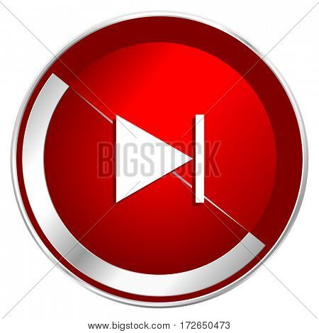 Next red web icon. Metal shine silver chrome border round button isolated on white background. Circle modern design abstract sign for smartphone applications.