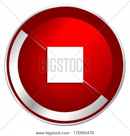 Stop red web icon. Metal shine silver chrome border round button isolated on white background. Circle modern design abstract sign for smartphone applications.