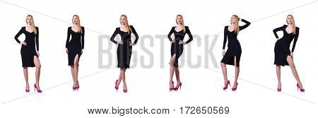 Woman in black dress in fashion concept on white
