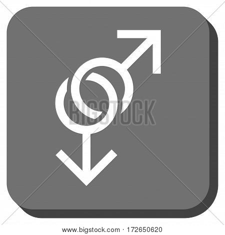 Gay Love Symbol interface button. Vector pictograph style is a flat symbol in a rounded square button white and gray colors.