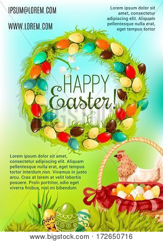 Happy Easter Day cartoon poster. Easter egg hunt basket on green grass, chicken and spring floral wreath with white lily flowers and painted eggs. Easter egg hunt celebration banner design