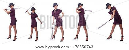 Woman gangster with baseball bat
