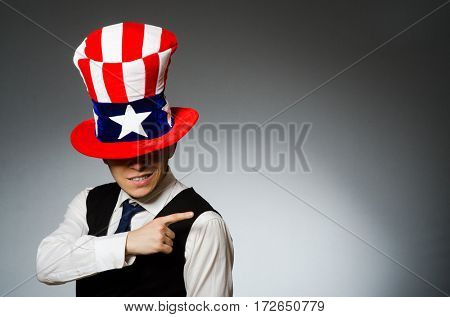 Man wearing hat with american symbols