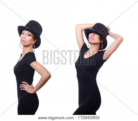 Woman wearing hat isolated on white