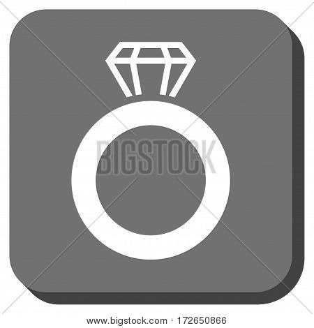 Gem Ring rounded icon. Vector pictograph style is a flat symbol in a rounded square button white and gray colors.