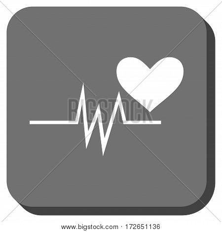 Heart Pulse Signal rounded button. Vector pictograph style is a flat symbol inside a rounded square button white and gray colors.