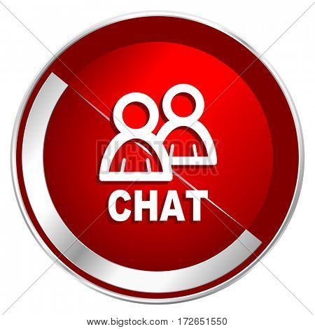 Chat red web icon. Metal shine silver chrome border round button isolated on white background. Circle modern design abstract sign for smartphone applications.