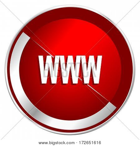 WWW red web icon. Metal shine silver chrome border round button isolated on white background. Circle modern design abstract sign for smartphone applications.
