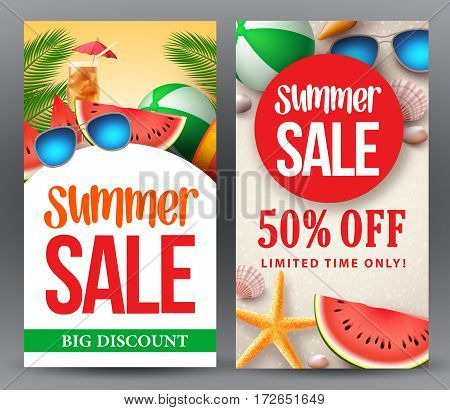Summer sale vector banner set designs with 50% off discount for season shopping promotion with tropical background. Vector illustration.