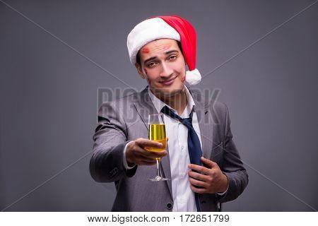 Man wearing santa in funny festive concept