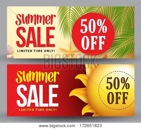 Summer sale vector banner set of designs with 50% discount for summer holiday shopping promotion with sun and palm leaves background. Vector illustration.
