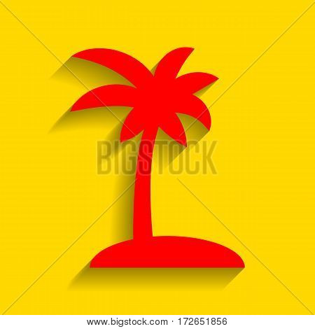 Coconut palm tree sign. Vector. Red icon with soft shadow on golden background.