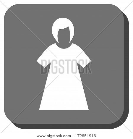 Lady Figure square icon. Vector pictogram style is a flat symbol centered in a rounded square button white and gray colors.