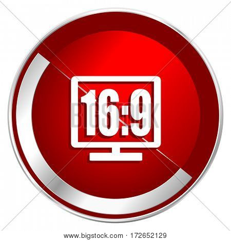 16 9 display red web icon. Metal shine silver chrome border round button isolated on white background. Circle modern design abstract sign for smartphone applications.