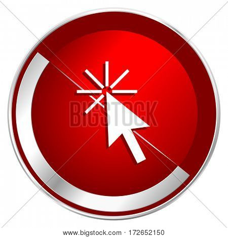Click here red web icon. Metal shine silver chrome border round button isolated on white background. Circle modern design abstract sign for smartphone applications.