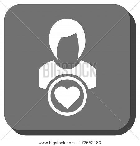 Lady Love square button. Vector pictograph style is a flat symbol centered in a rounded square button white and gray colors.