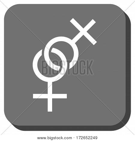 Lesbian Love Symbol square icon. Vector pictogram style is a flat symbol on a rounded square button white and gray colors.