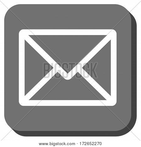 Letter interface button. Vector pictograph style is a flat symbol in a rounded square button white and gray colors.