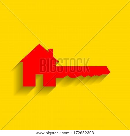 Home Key sign. Vector. Red icon with soft shadow on golden background.