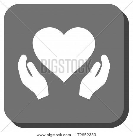 Love Care Hands interface icon. Vector pictograph style is a flat symbol centered in a rounded square button white and gray colors.