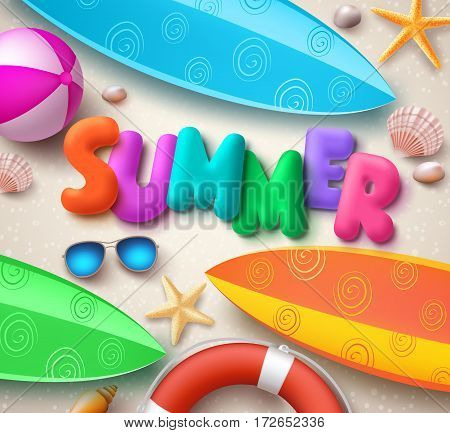 Summer holiday vector background in beach with colorful summer text, surfboards and elements in the sand for tropical season. Vector illustration.