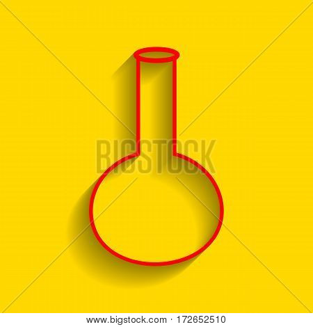 Tube. Laboratory glass sign. Vector. Red icon with soft shadow on golden background.
