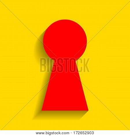 Keyhole sign illustration. Vector. Red icon with soft shadow on golden background.
